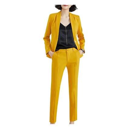 Matching yellow blazer and slacks outfit