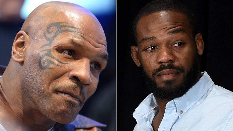 Boxing Legend Mike Tyson left, UFC Champ Jon Jones right