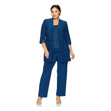 Woman in blue glittery suit set