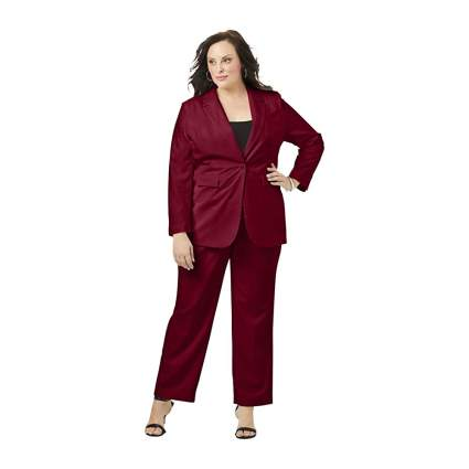 Woman in red suit with blazer