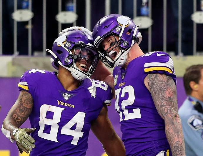Kyle Rudolph and Irv Smith Jr. of the Minnesota Vikings