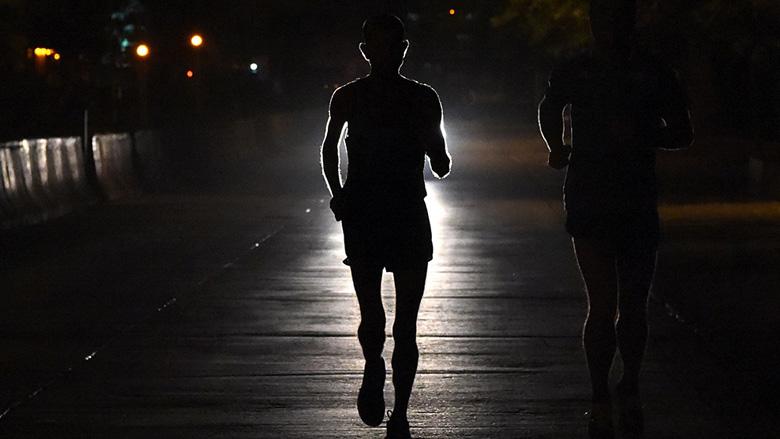 Runner At Night in Mumbai, India