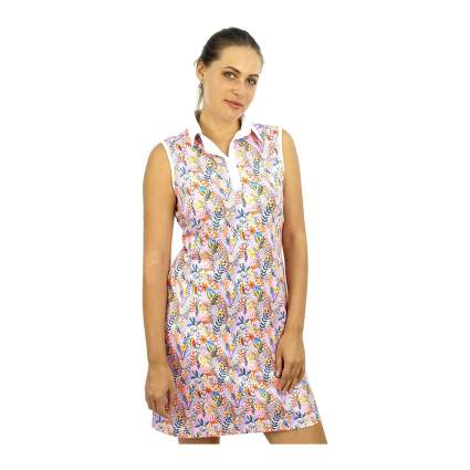 Woman in colorful tennis dress