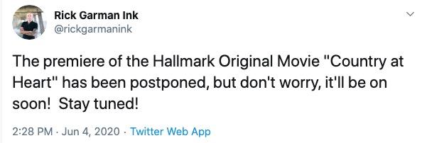 Hallmark's 'Country at Heart' Postponed & Not Airing June 6