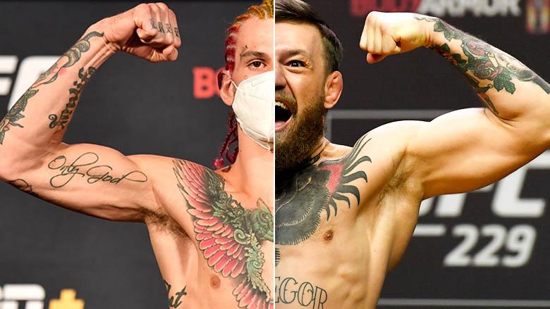 UFC Prospect Sean O'Malley left, UFC Champ Conor McGregor right