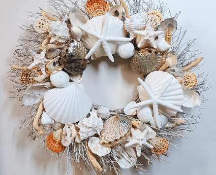 "21"" Seashell Wreath with Polished Abalone Shells"