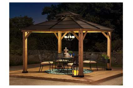 cedar frame gazebo with metal roof