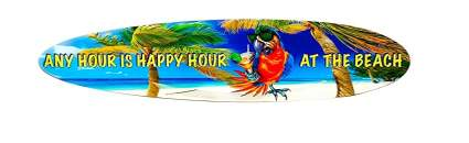 Beach Parrot Happy Hour Surfboard Wall Décor