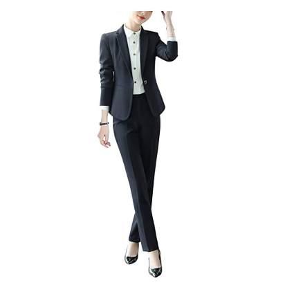 Slim woman in black business suit