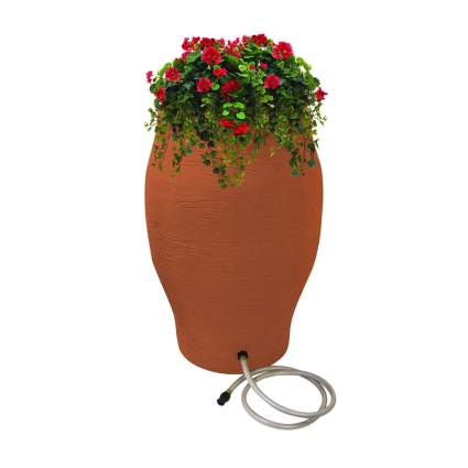terracotta rain barrel planter