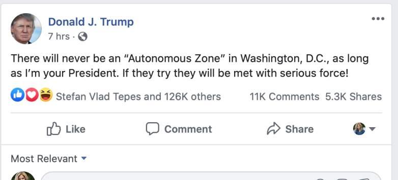 Trump's Facebook page