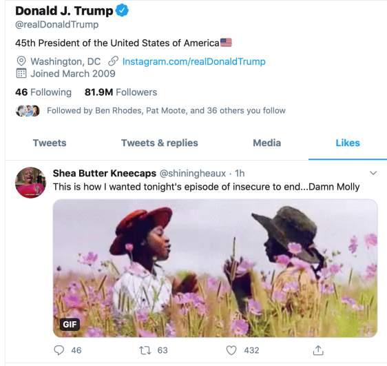 Trump's liked tweets on Twitter