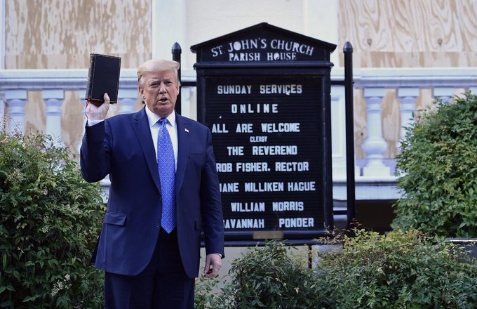 Trump holds bible