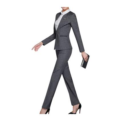 Woman in grey business suit