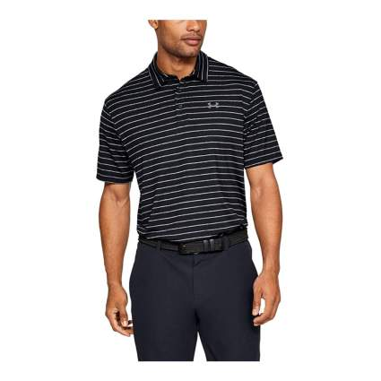 Man in black striped polo shirt