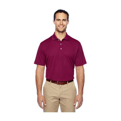 Man in dark red polo shirt