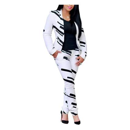 Woman in white and black striped suit