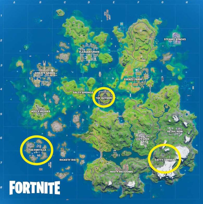 fortnite season 3 mythic weapons locations