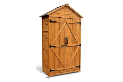 small wooden storage shed