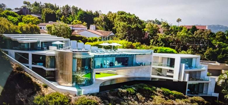 The Razor House Mansion aerial view