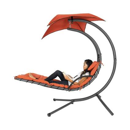 Best Choice Products Outdoor Hanging Steel Chaise Lounge Chair Wit Removable Canopy