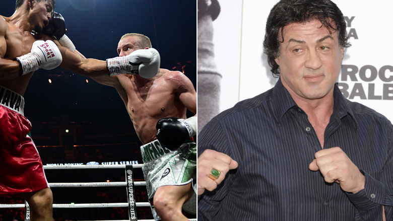 Paul Butler and Salvador Hernandez Sanchez left, Sylvester Stallone right