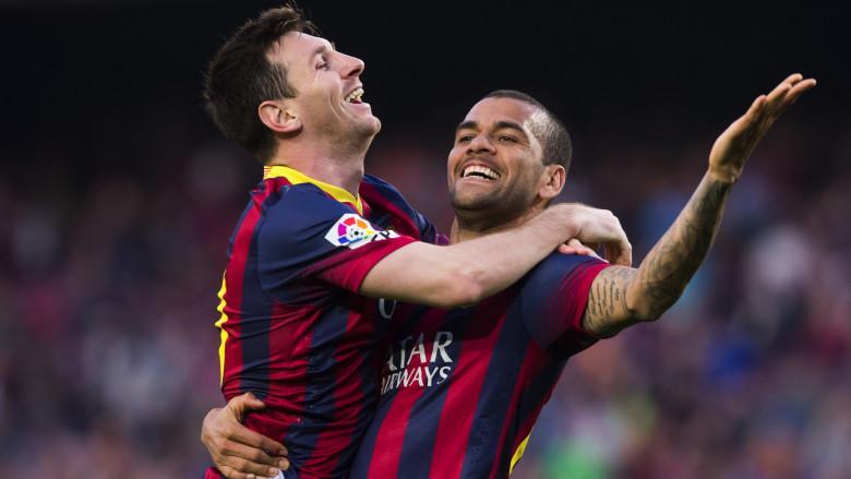 Dani Alves and Lionel Messi