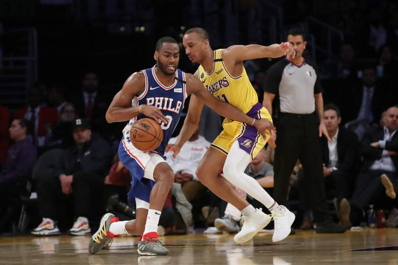 LOS ANGELES, CALIFORNIA - MARCH 03: Alec Burks #20 of the Philadelphia 76ers handles the ball against Avery Bradley #11 of the Los Angeles Lakers during the second half at Staples Center on March 03, 2020 in Los Angeles, California. NOTE TO USER: User expressly acknowledges and agrees that, by downloading and or using this Photograph, user is consenting to the terms and conditions of the Getty Images License Agreement. (Photo by Katelyn Mulcahy/Getty Images)