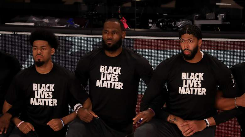 From left, Quinn Cook, LeBron James and Anthony Davis of the Lakers