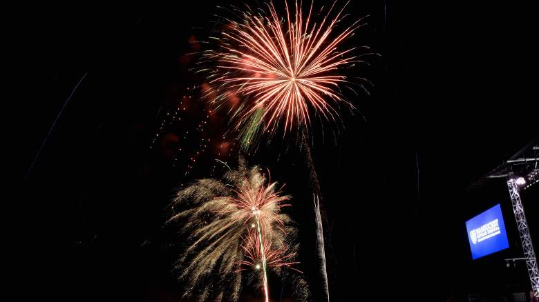 Fireworks display at the Boston Pops On Nantucket Hosted By Real Simple and Coastal Living at Jetties Beach on August 9, 2014 in Nantucket, Massachusetts.