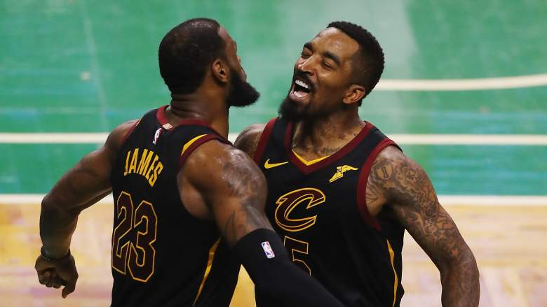 J.R. Smith, right, with former Cavaliers teammate LeBron James