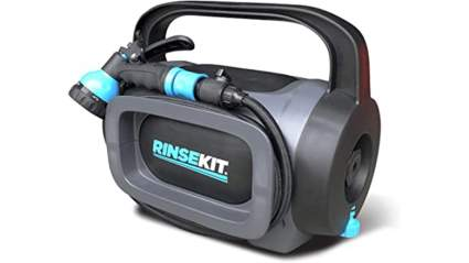 RinseKit POD | Portable Shower with Hand Pump | 1.75 Gallons of Hot or Cold Water | High Pressure Spray is Great for Camping, Surfing, Pets, Sports and a Quick Shower