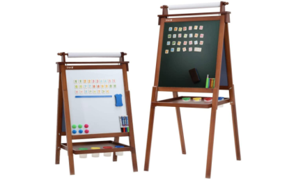 Dripex Kids Art Easel with Paper Roll, Double Sided Toddler Childrens Easel