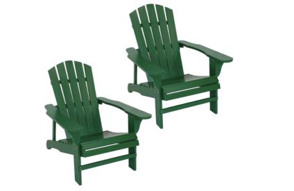 Sunnydaze Coastal Bliss Outdoor Wooden Adirondack Patio Chair Set of Two