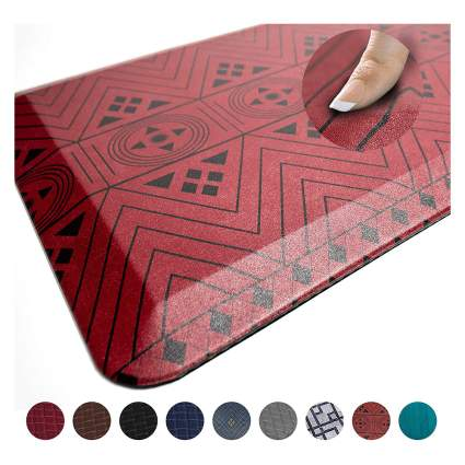 Red patterened floor mat
