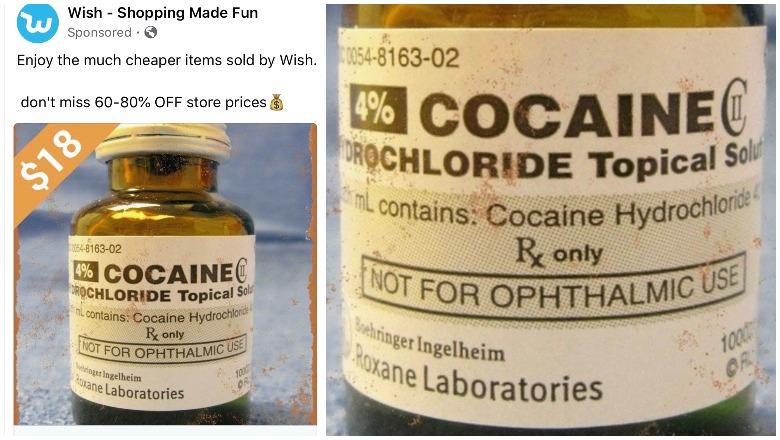 Wish.com cocaine ad