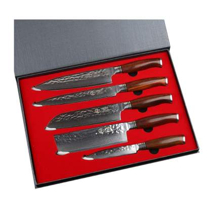 five piece damascus steel knife set