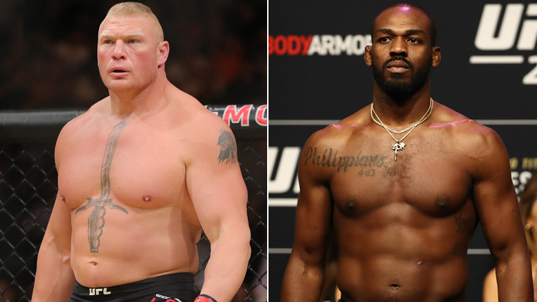 Brock Lesnar left, Jon Jones right