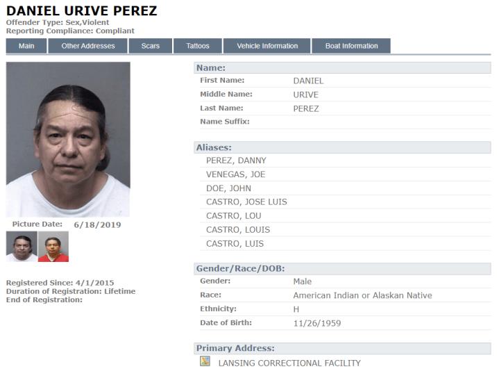 Daniel Perez Sex Offender Registry