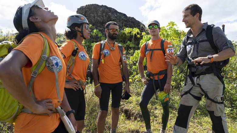 Bear Grylls and Team Khukuri Warriors from India (team members Tashi Malik, Nungshi Malik, Brandon Fisher, Praveen Singh Rangar and VS Malik) during the 2019 Eco-Challenge adventure race in Fiji on Thursday, September 19, 2019.