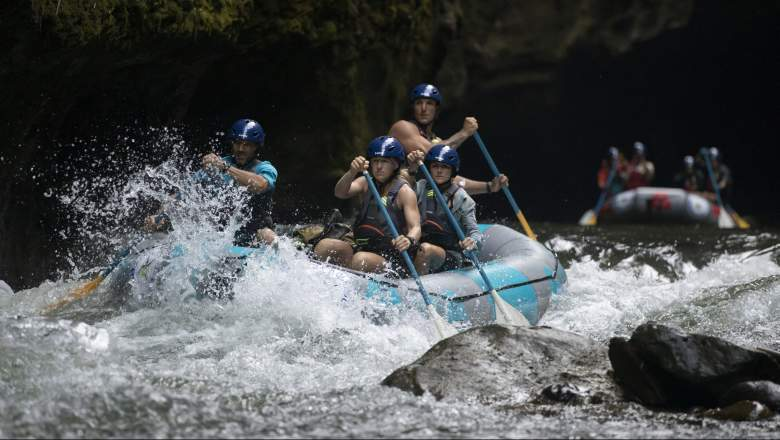 Team Regulators from the United States (team members Steven Bell, Joshua Watkins, Heather Gustafson, Crista Jorgensen and Jason Hull) during the 2019 Eco-Challenge adventure race in Fiji on Sunday, September 15, 2019.