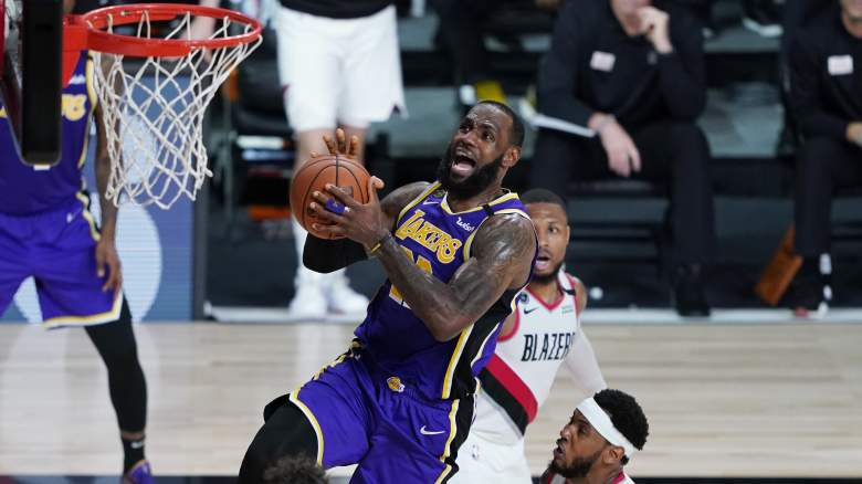 Lakers forward LeBron James drives to the rim.
