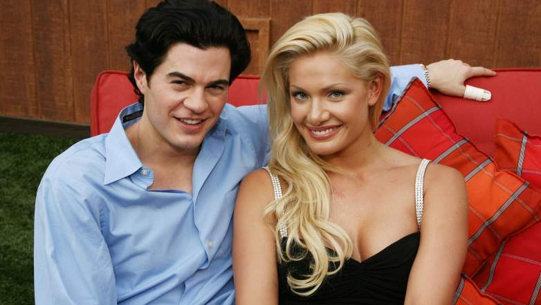 """Will Kirby (L) and Janelle Pierzina pose at """"Big Brother 7: All-Stars"""" at CBS Radford on September 12, 2006"""