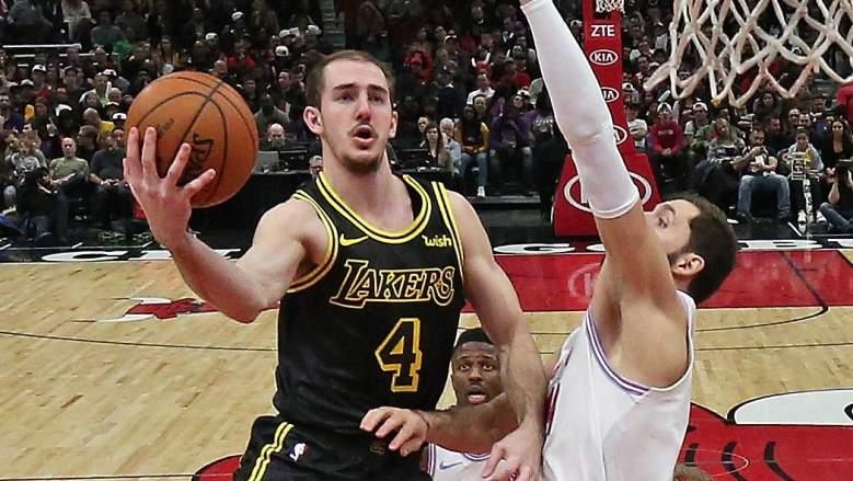Lakers guard Alex Caruso sports a Black Mamba jersey in 2018.