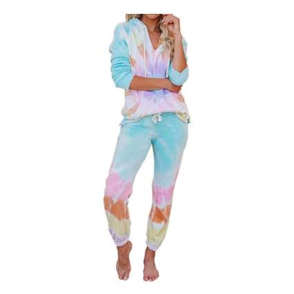 tie dye two piece pajamas