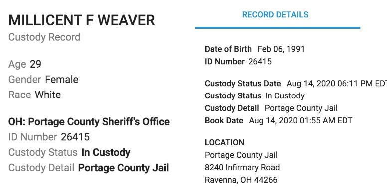 Millie Weaver arrested
