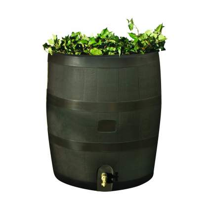 RTS Home Accents Round 35-Gallon Rain Barrel with Brass Spigot and Built-In Planter