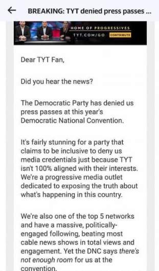 The Young Turks' Email Says DNC Denied Them Press Passes to Convention