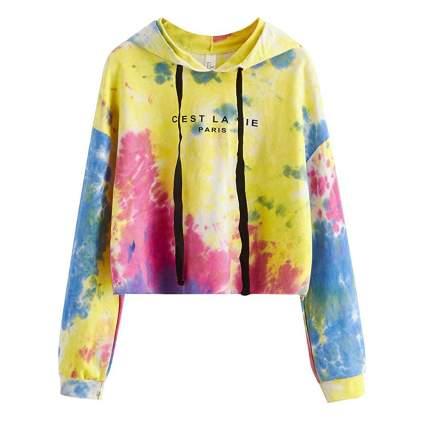 crop top tie dye hoodie