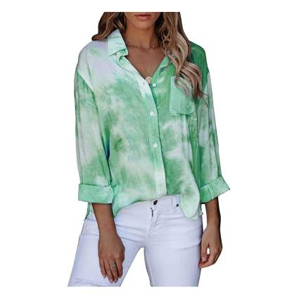 tie-dye button down blouse